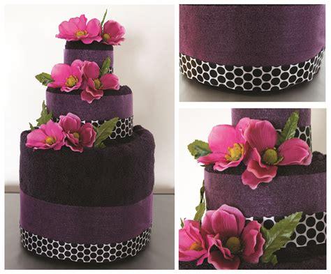 towel cakes for bridal shower how to make diy purple towel wedding cake living la vie