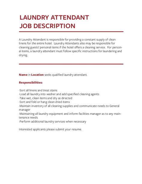 Laundry Attendant Cover Letter by Description Templates The Definitive Guide