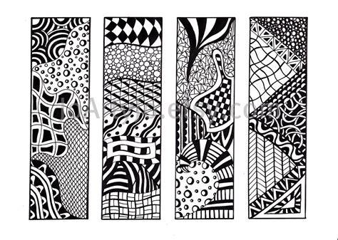 Zen Inspired by Printable Bookmarks Zendoodle Bookmarks Black And White