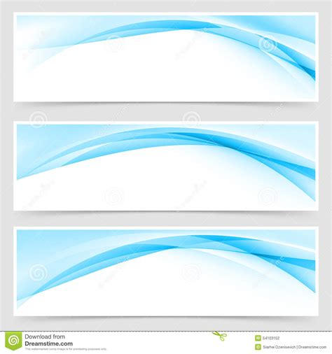 header photo template soft blue wave border template header set stock vector