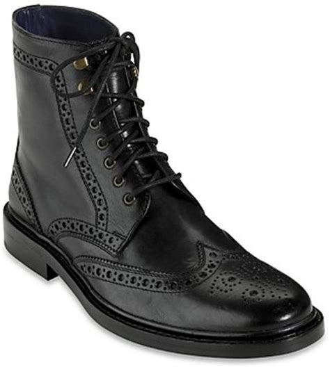 cole haan air harrison wingtip boots in black for lyst