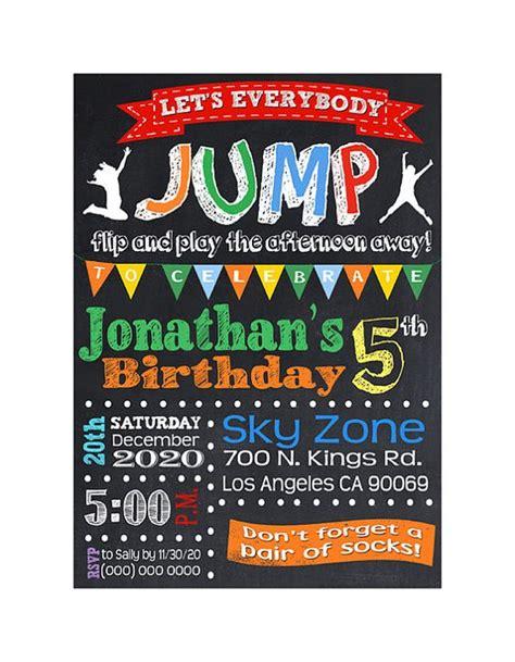 printable sky zone birthday invitations troline birthday party birthday party invitations and