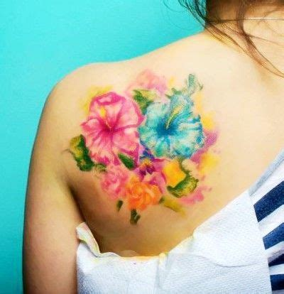 watercolor tattoo upper back morning watercolor on s shoulder flower