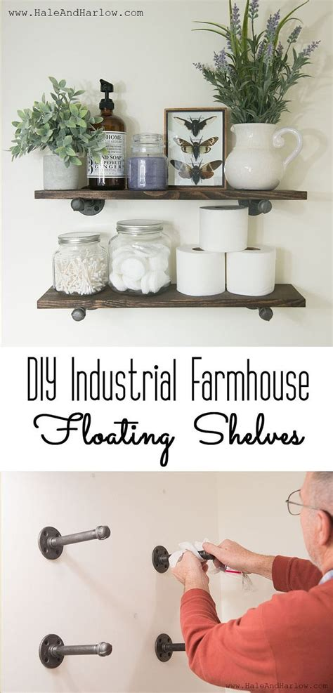 wall shelves in bathroom diy industrial farmhouse floating shelves awesome