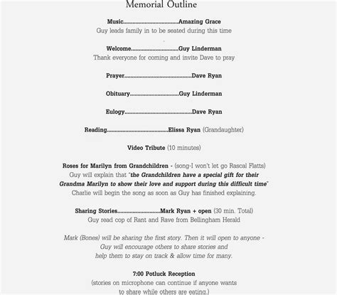 Sublime Living A Time To Grieve Simple Memorial Service Ideas Funeral Service Outline Template