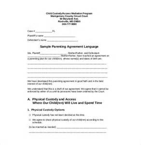 Child Custody Agreements Exles custody agreement template 10 free word pdf document free premium templates