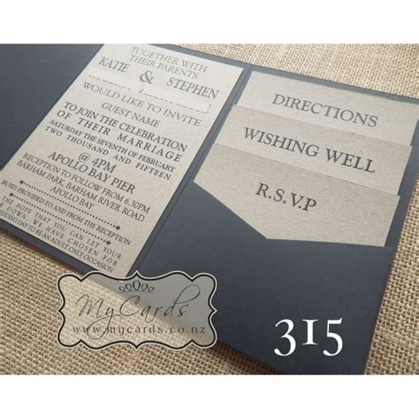 wedding invitations auckland a6 pocketfold with kraft inserts wedding invitation 315 mycards