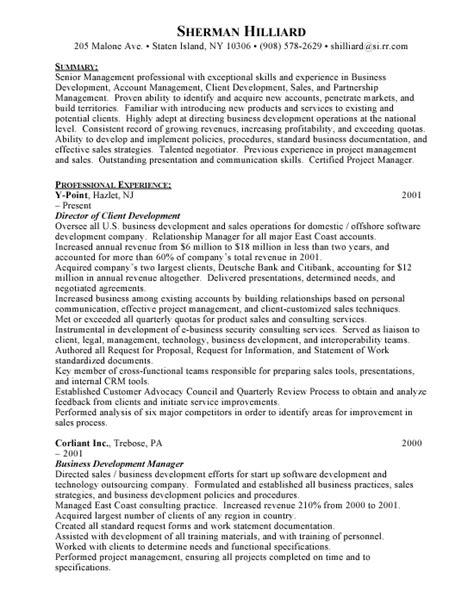Client Development Manager Sle Resume Client Development Business Development Free Resumes
