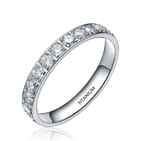 3mm fashion titanium ring bling cubic zirconia