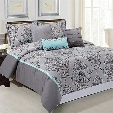 blue and gray comforter set silver sparkle 6 piece comforter set in grey blue bed