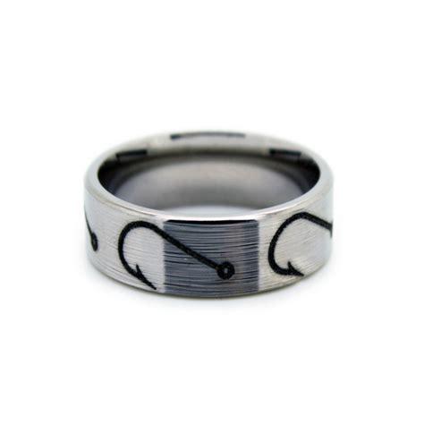 fishing hook wedding rings fish hook band   camo