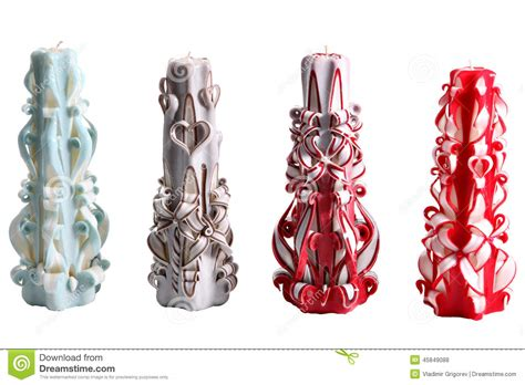 Handmade Decorative Candles - set of four colorful wax candles handmade carved on white