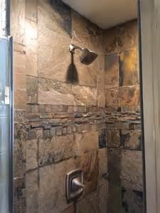 slate shower rustic bathroom by the flooring guy llc