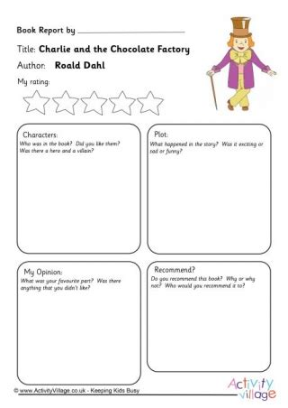 roald dahl book review template and the chocolate factory resources