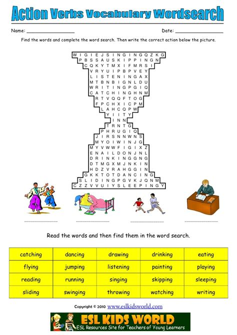 Search Pictures Of Verbs Wordsearch