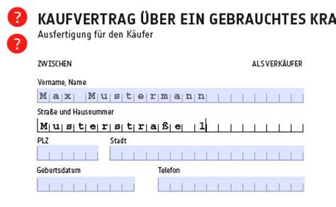 Kaufvertrag Auto Pdf Ausf Llbar by Kfz Kaufvertrag Autokaufvertrag Vorlage Zum