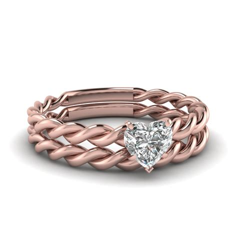 Twisted Set twisted rope solitaire bridal set in 14k gold