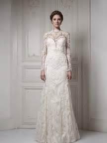 wholesaleHot saleThe Ivory Tulle and Lace Floor Length Muslim Wedding Dress Long Sleeve 2014 Bridal Free Shipping