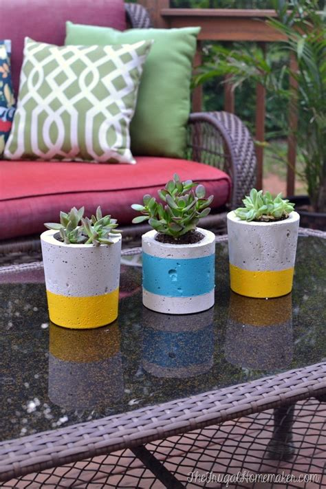 Painting Concrete Planters by Diy Painted Concrete Planters How To Make Your Own