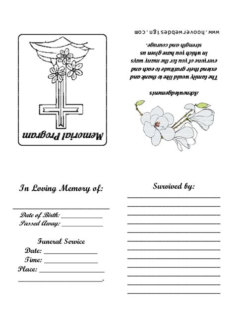 program card template 8 best images of printable memorial service templates