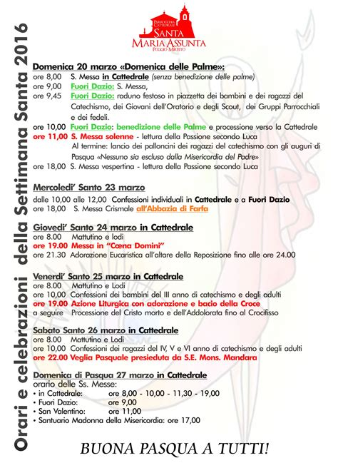 programma settimana santa 2016 parrocchia programma della settimana santa parrocchia cattedrale