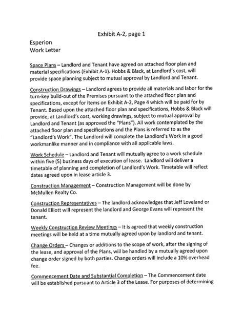 Lease Work Letter Valley Ranch Business Park Lease By Hdl Therapeutics