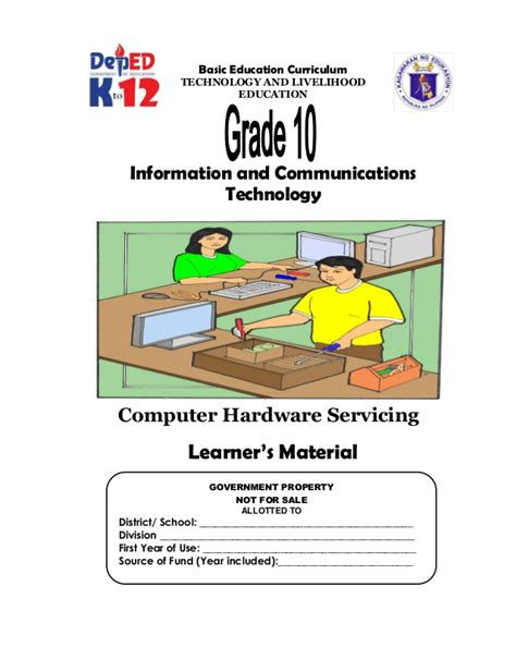 workshop layout for computer hardware servicing k 12 module in tle ict grade 10 all gradings