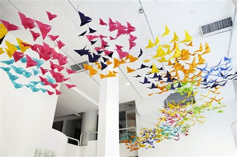 origami installation amazing installation origami butterflies by