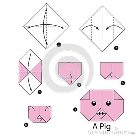 Origami Farm Animals - step by step how to make origami pig stock