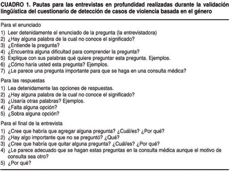 preguntas para una entrevista de violencia sa 250 de p 250 blica validaci 243 n de un cuestionario breve para