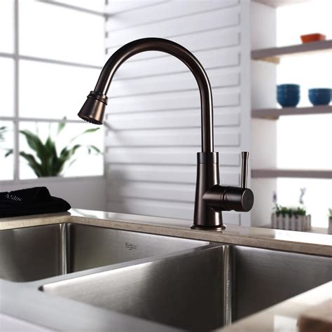 stainless steel kitchen sink with bronze faucet kraus khf20333kpf2220ksd30orb 33 inch farmhouse double