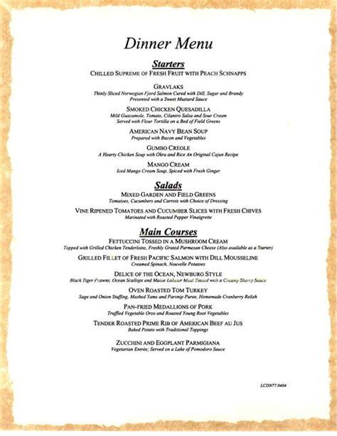 dinner menus carnival cruises dinner menu 5 carnival cruises dining menus