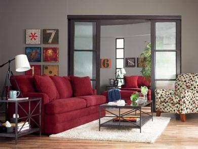 red sofa with grey walls red sofa gray walls dark wood accents home base