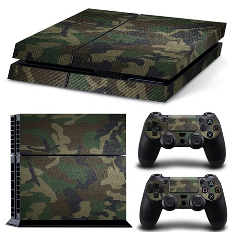 removable camouflage camo pattern vinyl skin sticker for playstation 4 ps4 console 2pcs