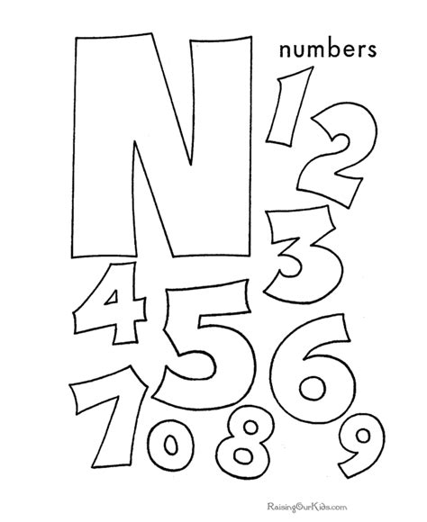 n words coloring page learning numbers toddlers preschool and kindergarten 001