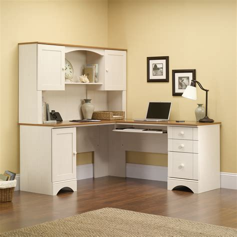 corner desk with hutch white harbor view hutch 403785 sauder