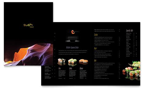 menu layouts templates sushi restaurant menu template design