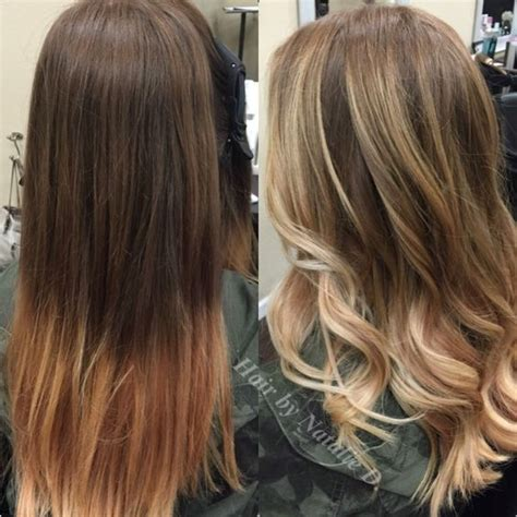 brown hair to blonde balayage before and after balayage highlights brunette before and after hair