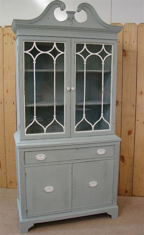 vintage reclaimed gray putty painted china cabinet