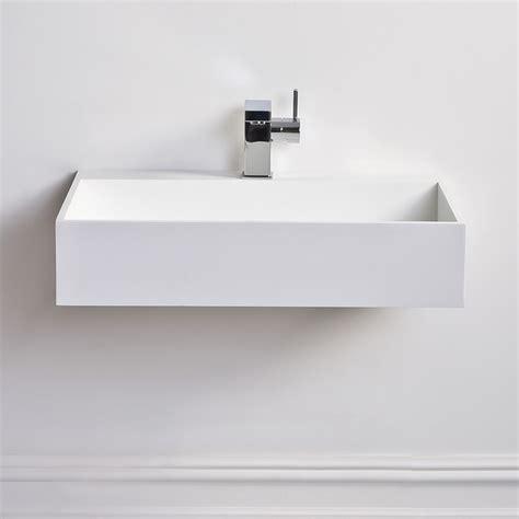 Modern Wall Hung Bathroom Sinks Lusso Ethos Slim Solid Surface Resin