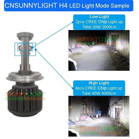 Lu Led H4 Luminos Dc White Modul Converter Dc new h4 led with cree chips motorcycle headlight bulb 4000lm 40w hi lo beam conversion kit 3000k