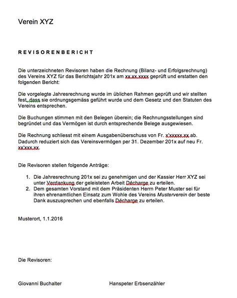 Offizieller Brief Schweiz Revisorenbericht Verein Vorlage Muster Und Vorlagen