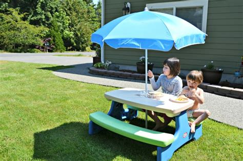 tikes easy store picnic table with blue umbrella tikes easy store picnic table umbrella