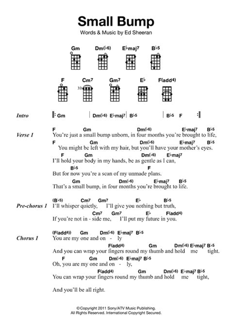 ukulele tutorial ed sheeran small bump sheet music by ed sheeran ukulele 121869
