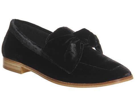 womens velvet loafers womens office possum bow loafers black velvet flats ebay