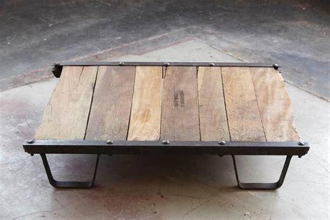 Vintage Industrial Steel And Wood Skid Platform Low Vintage Industrial Coffee Table