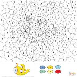 color free submarine color by number free printable coloring pages