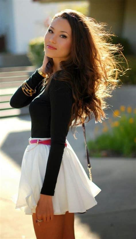 Reyn Shop Blouse Mimi Top Navy black sleeve blouse and white flowy mini skirt fashion