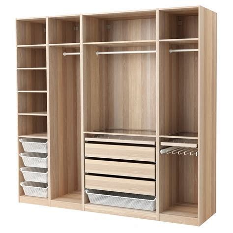 pax wardrobe white stained oak effect 250x58x236 cm
