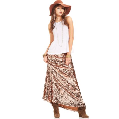 free people sequin skirt free sequin a line maxi skirt in multicolor gold lyst